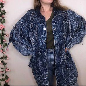 Vintage L.A Acid Wash Studded Patched Denim Jacket